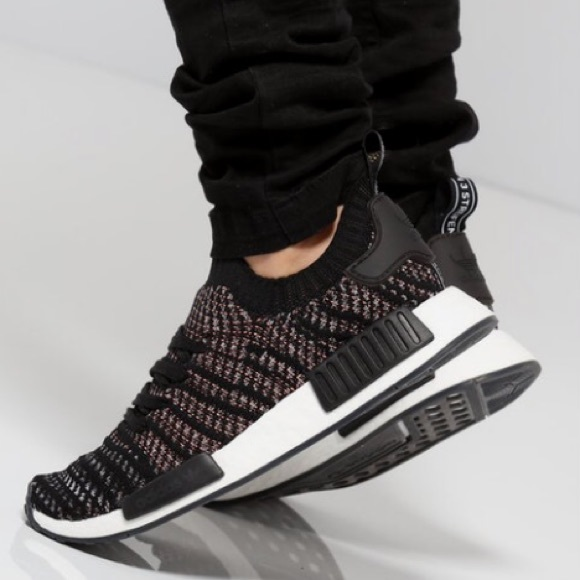newest 4a526 3001d Adidas NMD R1 STLT Primeknit black/ multicolor 9